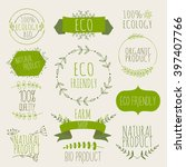 collection of green labels and... | Shutterstock .eps vector #397407766