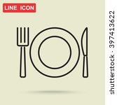 line icon  plate  knife and fork | Shutterstock .eps vector #397413622
