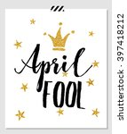 april fool's day card with... | Shutterstock .eps vector #397418212