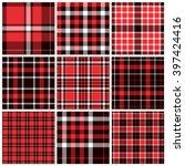 set of plaid seamless patterns. ... | Shutterstock .eps vector #397424416