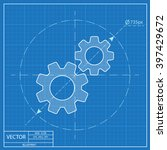 two gears vector blueprint icon  | Shutterstock .eps vector #397429672