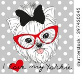 cute yorkshire terrier on a... | Shutterstock .eps vector #397430245