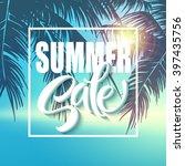 Summer Sale Lettering On Blue...