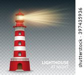 realistic red lighthouse... | Shutterstock .eps vector #397435936