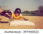youth baseball playing sliding... | Shutterstock . vector #397440022