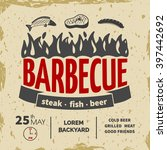 barbeque invitation card on the ... | Shutterstock .eps vector #397442692