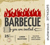 barbeque invitation card on the ... | Shutterstock .eps vector #397442695