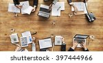 business people analyzing... | Shutterstock . vector #397444966