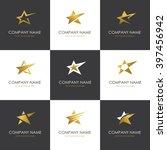 set of abstract golden star... | Shutterstock .eps vector #397456942