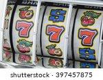 Stock photo winning jackpot with slot machine on lucky sevens 397457875