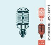 microphone icon. retro vintage...