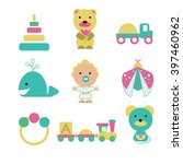 set of 8 toys and a kid. white... | Shutterstock . vector #397460962