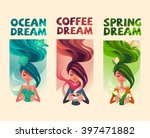 girls dreams cards  | Shutterstock .eps vector #397471882