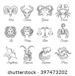 zodiac graphic signs vector.... | Shutterstock .eps vector #397473202