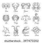 zodiac graphic signs vector.... | Shutterstock .eps vector #397473202