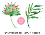 vector tropical palm leaves ... | Shutterstock .eps vector #397475896