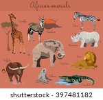 Wild African Animals Set With...