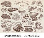 meat  vegetables  beef  cabbage ... | Shutterstock .eps vector #397506112
