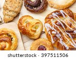 variety of bakery products on... | Shutterstock . vector #397511506