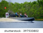 Small photo of Brevard County, Florida, USA - March 26, 2016: Closeup of a fast, fun, commercial airboat ride on the Saint Johns river in Brevard County, Florida.