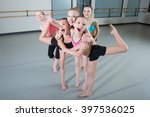 group of young girls having fun ... | Shutterstock . vector #397536025