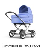 blue baby stroller isolated on... | Shutterstock . vector #397543705