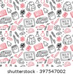 back to school themed doodle... | Shutterstock .eps vector #397547002