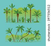 lovely set of vector green palm ... | Shutterstock .eps vector #397556512