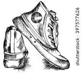 sneakers sketch style. vector... | Shutterstock .eps vector #397577626