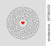 maze labyrinth with answer.... | Shutterstock .eps vector #397581025