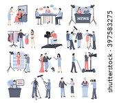 pressman and operator icon set... | Shutterstock .eps vector #397583275