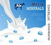 milk minerals realistic poster... | Shutterstock .eps vector #397583452