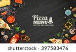 pizza menu chalkboard cartoon... | Shutterstock .eps vector #397583476