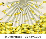 Golden Money Stacks And Rain....