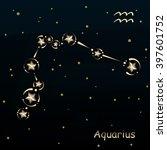 aquarius on a dark blue... | Shutterstock .eps vector #397601752