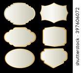 white   frame  gold border | Shutterstock .eps vector #397606072