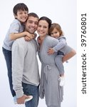 happy parents giving children...   Shutterstock . vector #39760801