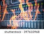 disaster in data center room... | Shutterstock . vector #397610968