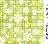 seamless pattern with white and ... | Shutterstock .eps vector #397627012