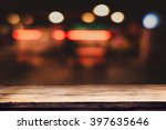 empty top of wooden table or... | Shutterstock . vector #397635646