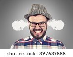 Stock photo angry young man blowing steam coming out of ears 397639888