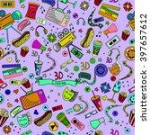 cinema seamless line art design ... | Shutterstock . vector #397657612