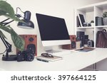 home office desktop computer... | Shutterstock . vector #397664125