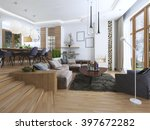 the interior is a studio with... | Shutterstock . vector #397672282