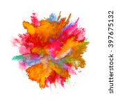 explosion of colored powder on... | Shutterstock . vector #397675132