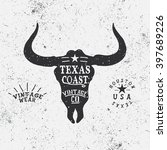 vintage trademark with bull... | Shutterstock .eps vector #397689226