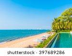 beautiful luxury hotel swimming ... | Shutterstock . vector #397689286