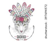 leopard bohemian chic  summer... | Shutterstock .eps vector #397694572