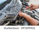 hands of mechanic working in... | Shutterstock . vector #397695922
