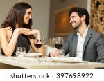 cheerful couple in a... | Shutterstock . vector #397698922